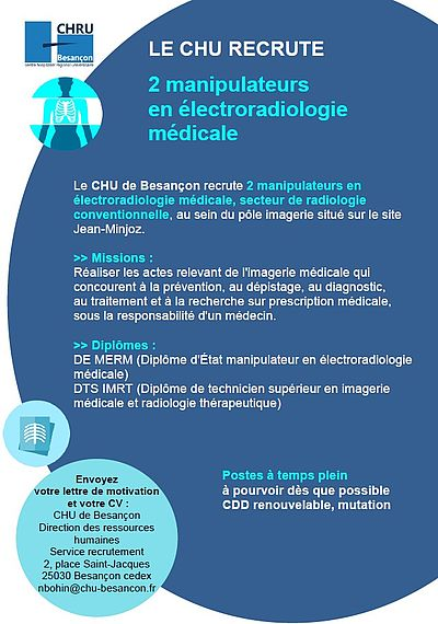 recrutement de 2 manipulateurs en  u00e9lectroradiologie m u00e9dicale